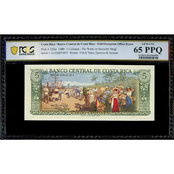 San Jose, Costa Rica, Banco Central, 5 colones, 4-10-1989, serial D58874937, full overprint offset e