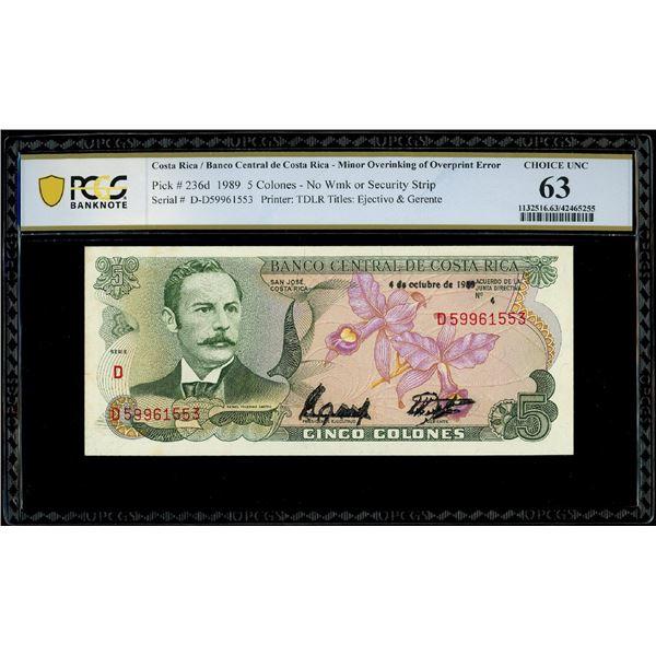San Jose, Costa Rica, Banco Central, 5 colones, 4-10-1989, serial D59961553, minor overinking of ove