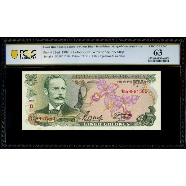 San Jose, Costa Rica, Banco Central, 5 colones, 4-10-1989, serial D59961560, insufficient inking of