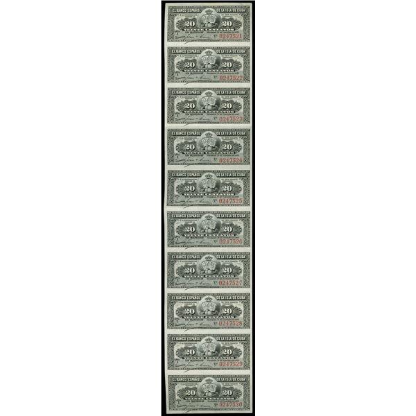 Havana, Cuba, El Banco Espanol de la Isla de Cuba, uncut sheet of ten 20 centavos, 15-2-1897, serial