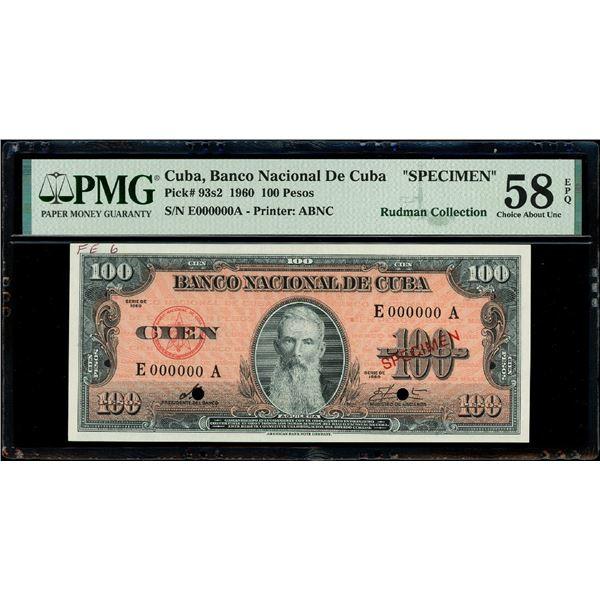 Cuba, Banco Nacional, 100 pesos specimen, series 1960, serial E000000A, with red SPECIMEN overprint