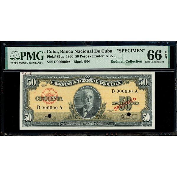 Cuba, Banco Nacional, 50 pesos specimen, series 1960, serial D000000A, with red SPECIMEN overprint a