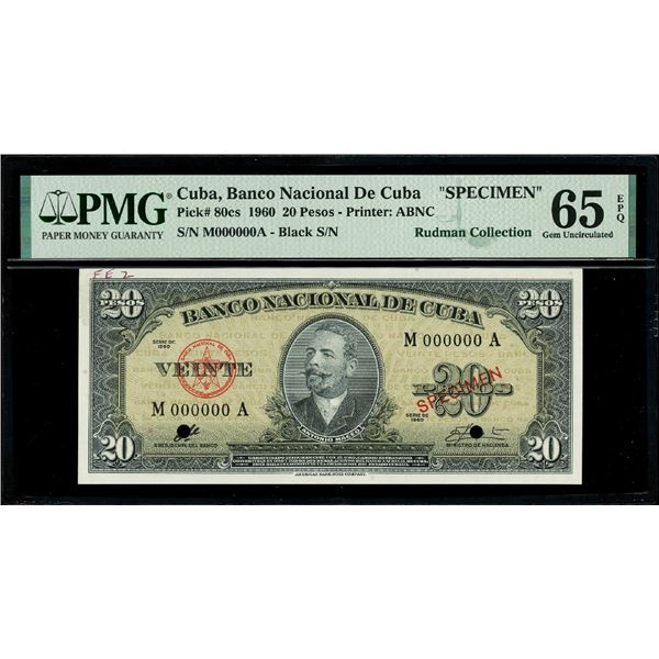 Cuba, Banco Nacional, 20 pesos specimen, series 1960, serial M000000A, with red SPECIMEN overprint a