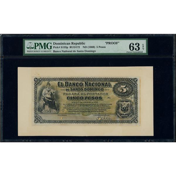 Santo Domingo, Dominican Republic, Banco Nacional, 5 pesos front proof, ND (1889), series E, PMG Cho