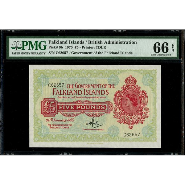 Falkland Islands, 5 pounds, 30-1-1975, Elizabeth II, serial C62657, PMG Gem UNC 66 EPQ.