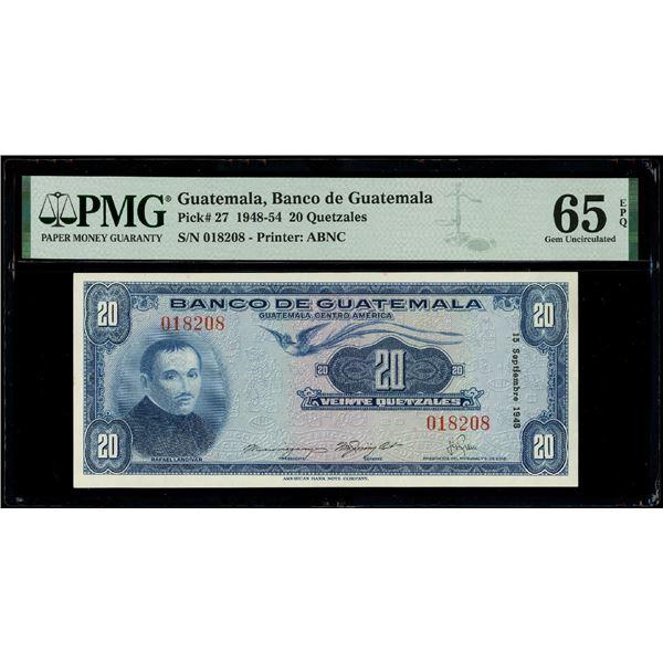 Guatemala, Banco de Guatemala, 20 quetzales, 15-9-1948, serial 018208, PMG Gem UNC 65 EPQ.