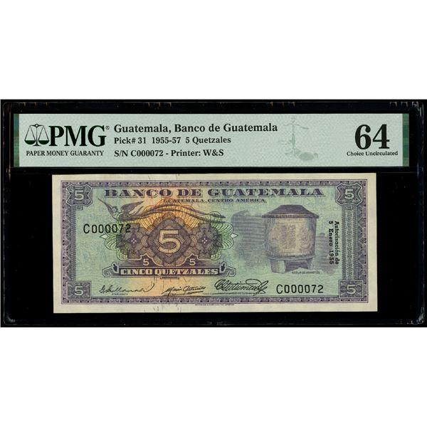 Guatemala, Banco de Guatemala, 5 quetzales, 5-1-1955, serial C000072, low serial number, PMG Choice