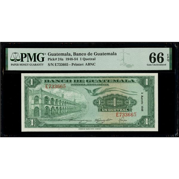 Guatemala, Banco de Guatemala, 1 quetzal, 3-8-1949, serial E733665, PMG Gem UNC 66 EPQ.