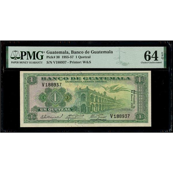Guatemala, Banco de Guatemala, 1 quetzal, 16-1-1957, serial V188937, PMG Choice UNC 64 EPQ.