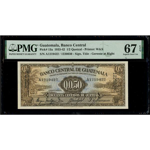 Guatemala, Banco de Guatemala, 50 centavos de quetzal, 2-12-1938, serial A1219422 / 1220030, PMG Sup