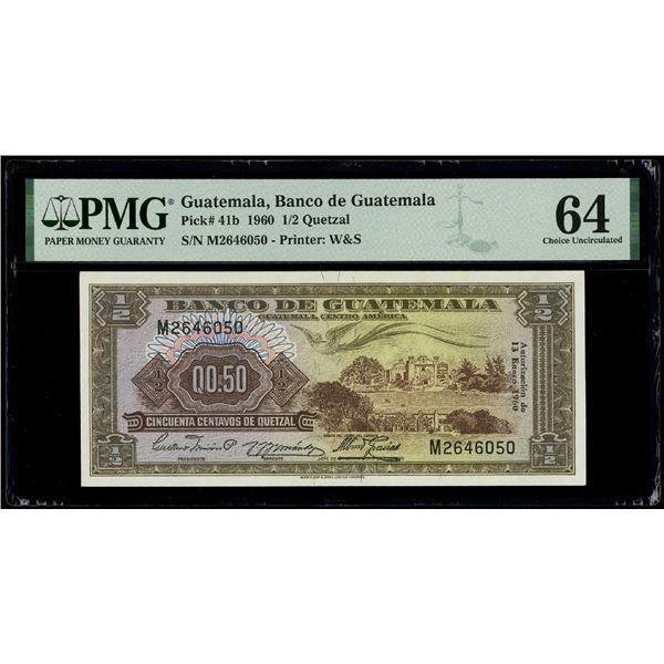 Guatemala, Banco de Guatemala, 1/2 quetzal, 13-1-1960, serial M2646050, PMG Choice UNC 64.