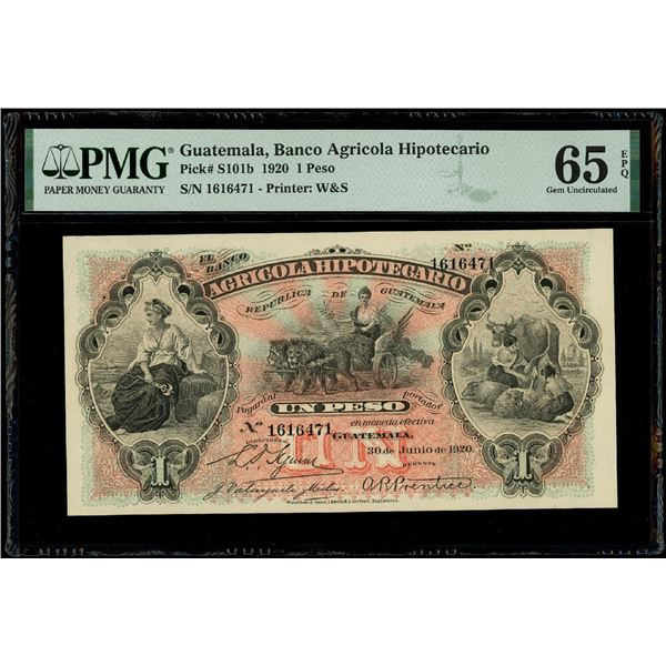 Guatemala, Banco Agricola Hipotecario, 1 peso, 30-6-1920, serial 1616471, PMG Gem UNC 65 EPQ.