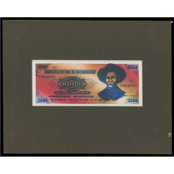 Nicaragua, Banco Central, 1000 cordobas front and back essays, 1980, framed in thick cardstock, ex-R