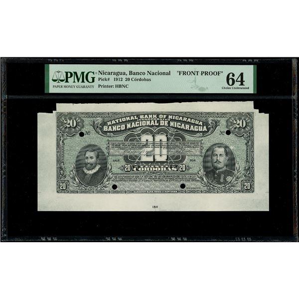 Nicaragua, Banco Nacional, 20 cordobas front proof, 20-3-1912, PMG Choice UNC 64, ex-Rudman.