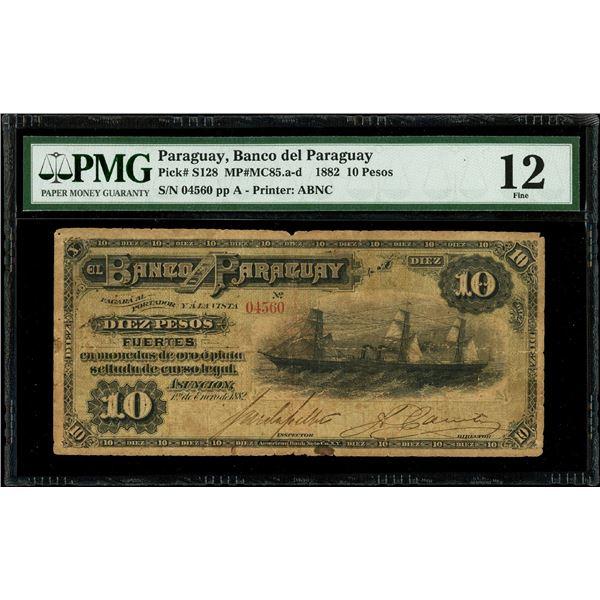 Asuncion, Paraguay, Banco del Paraguay, 10 pesos fuertes, 1-1-1882, serial 04560, Urdapilleta-Canter