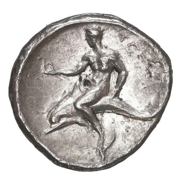 "Calabria, Tarentum, AR nomos (didrachm), ca. 300-290 BC, ""boy on dolphin."""