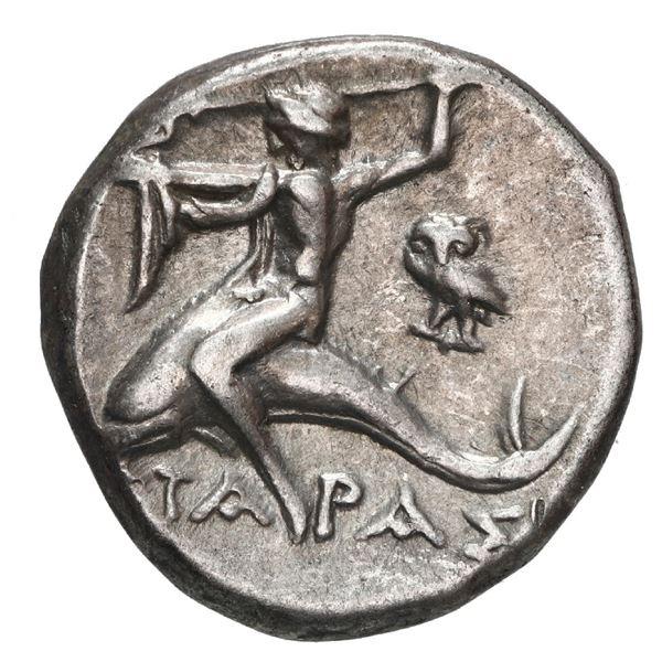 """Calabria, Tarentum, AR didrachm, 281-240 BC, """"boy on dolphin,"""" medallic alignment."""