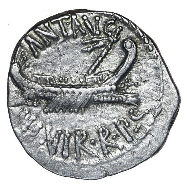 Roman Imperatorial, AR denarius, Mark Antony (triumvirs), military mint traveling with Legion XI, ca