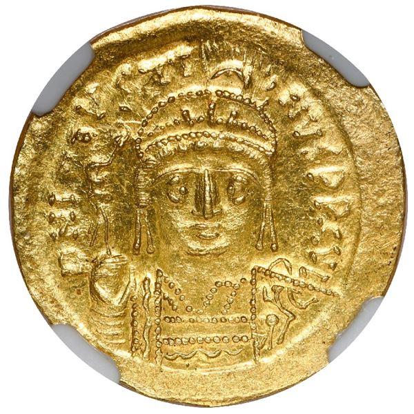 Byzantine Empire, AV solidus, Justin II, 565-578 AD, Constantinople mint, NGC MS, strike 5/5, surfac