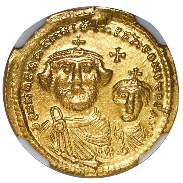 Byzantine Empire, AV solidus, Heraclius with Heraclius Constantine, 613-641 AD, Constantinople mint,