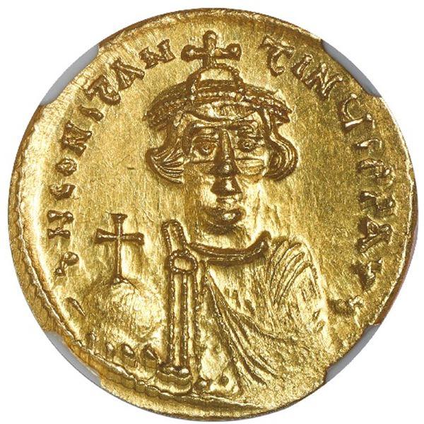 Byzantine Empire, AV solidus, Constans II, 641-668 AD, Constantinople mint, NGC MS, strike 4/5, surf