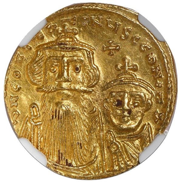 Byzantine Empire, AV solidus, Constans II and Constantine IV, 654-668 AD, Constantinople mint, NGC M