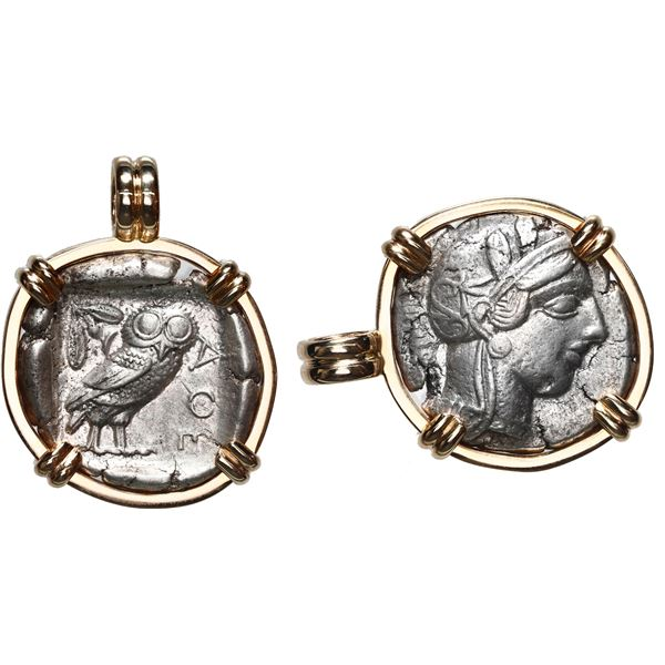 """Attica, Athens, AR tetradrachm, 454-404 BC, """"owl,"""" mounted owl-side out in 14K gold bezel with fixed"""