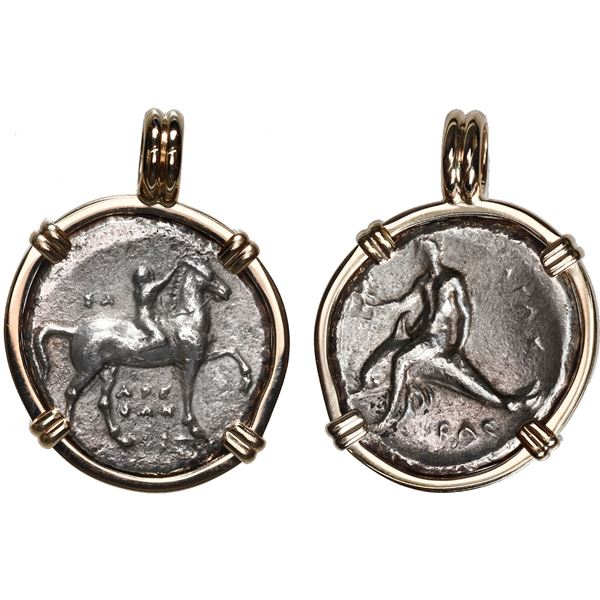 Calabria, Tarentum, AR nomos, ca. 280 BC,  boy on dolphin,  aligned axis, mounted in 14K gold bezel