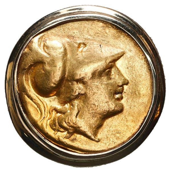 "Kingdom of Macedon, AV stater, Alexander III (the ""Great""), 336-323 BC, mounted in 14K men's gold ri"