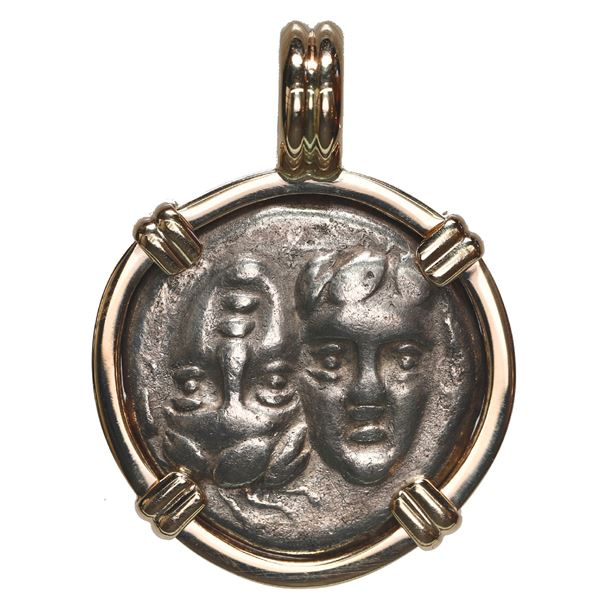 Moesia, Istros, AR drachm, ca. 4th century BC, mounted heads-side out in 14K gold bezel with fixed b