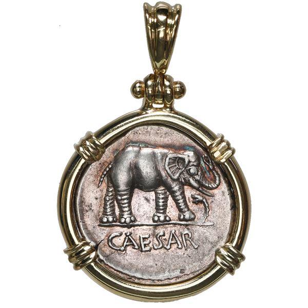 Roman Republic, AR denarius, Julius Caesar, military mint traveling with Caesar, ca.49 BC, mounted e