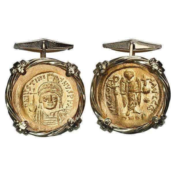 Pair of Byzantine Empire AV solidi, Justinian I, 527-565 AD, mounted in 18K cufflinks made of twiste