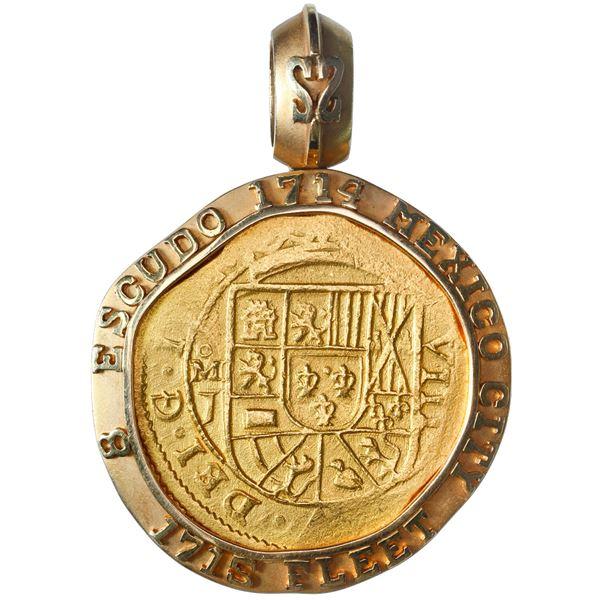 Mexico City, Mexico, gold cob 8 escudos, 1714 J, ex-1715 Fleet, mounted in large 18K gold bezel