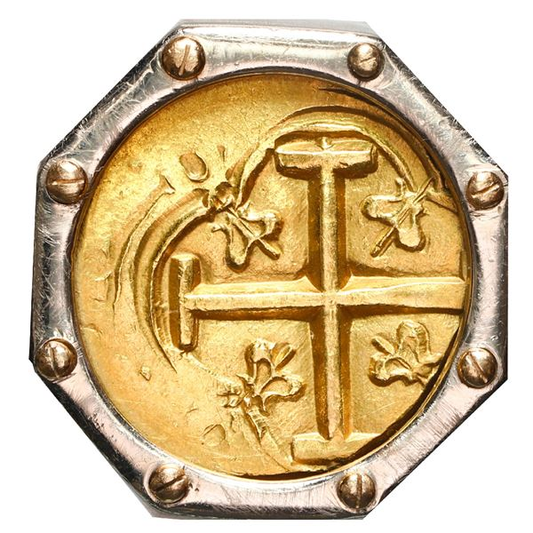 Bogota, Colombia, gold cob 2 escudos, Philip IV (early 1650s), assayer not visible, mtd. cross out