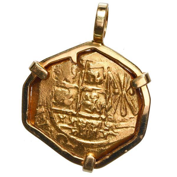 Bogota, Colombia, gold cob 2 escudos, 1711, Charles II posthumous, no assayer (Arce), ex-1715 Fleet