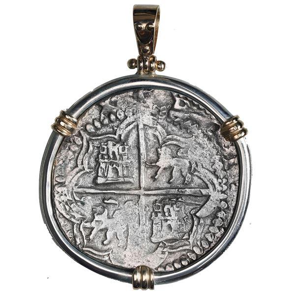 Potosi, Bolivia, cob 8 reales, Philip II, assayer B (5th period), Grade 2, ex-Atocha (1622), mounted
