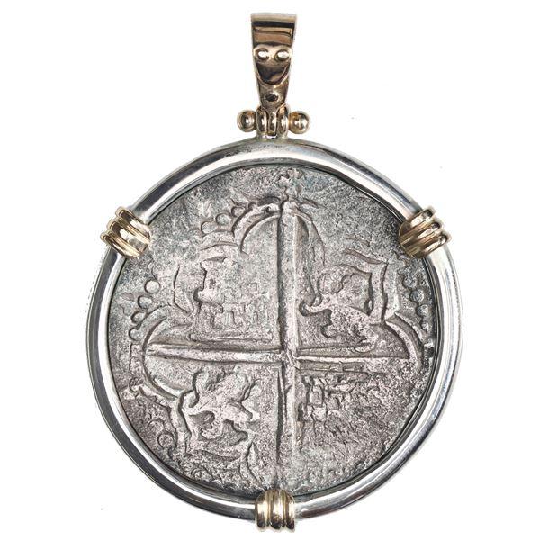 Potosi, Bolivia, cob 8 reales, Philip III, assayer Q, Grade 2, ex-Atocha (1622), mounted cross-side