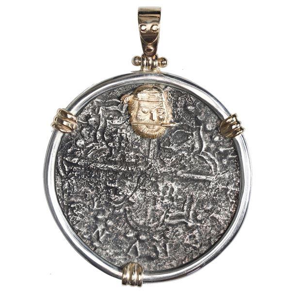 Potosi, Bolivia, cob 8 reales, Philip III, assayer T, Grade 2, ex-Atocha (1622), mounted in silver b