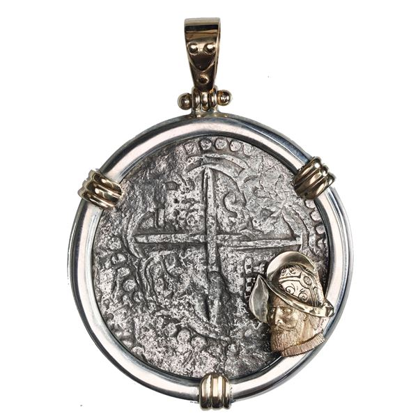 Potosi, Bolivia, cob 8 reales, Philip III, assayer T, quadrants of cross transposed, Grade 2, ex-Ato