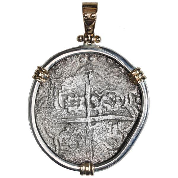 Potosi, Bolivia, cob 8 reales, Philip III, assayer T, quadrants of cross and upper half of shield tr