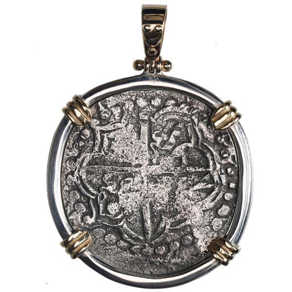 Potosi, Bolivia, cob 8 reales, Philip III, assayer T, Grade 3, ex-Atocha (1622), mounted in silver b