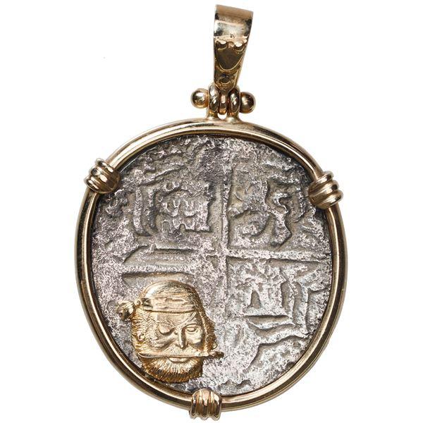 Potosi, Bolivia, cob 4 reales, Philip III, assayer R (curved leg), Grade 2, ex-Atocha (1622), mounte