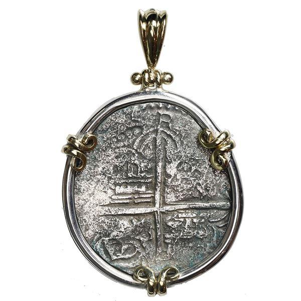 Potosi, Bolivia, cob 4 reales, Philip III, assayer Q, Grade 2, ex-Atocha (1622), mounted cross-side