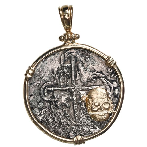 Potosi, Bolivia, cob 4 reales, Philip III, assayer not visible, Grade 2, ex-Atocha (1622), mounted c