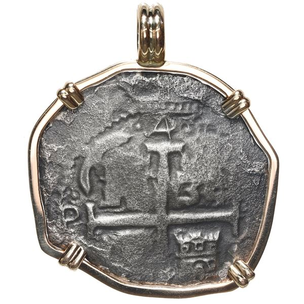 Potosi, Bolivia, cob 4 reales, 1679 V, ex-Consolacion (1681), mounted cross-side out in 14K bezel wi