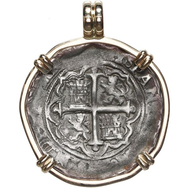 Mexico City, Mexico, cob 4 reales, Philip II, assayer O, mounted in 14K gold bezel with fixed bail.