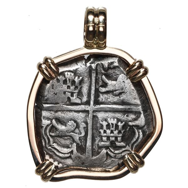 Potosi, Bolivia, cob 4 reales, Philip IV, assayer not visible (ca. 1630), mounted cross-side out in