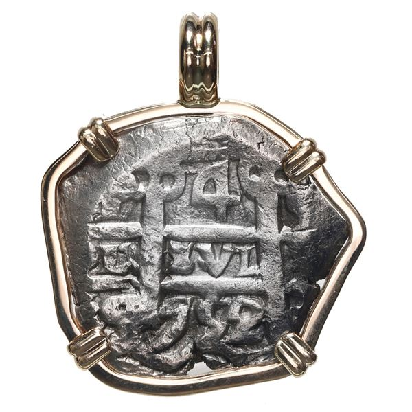 Potosi, Bolivia, cob 4 reales, 1752 q, mounted in 14K gold bezel with fixed bail.