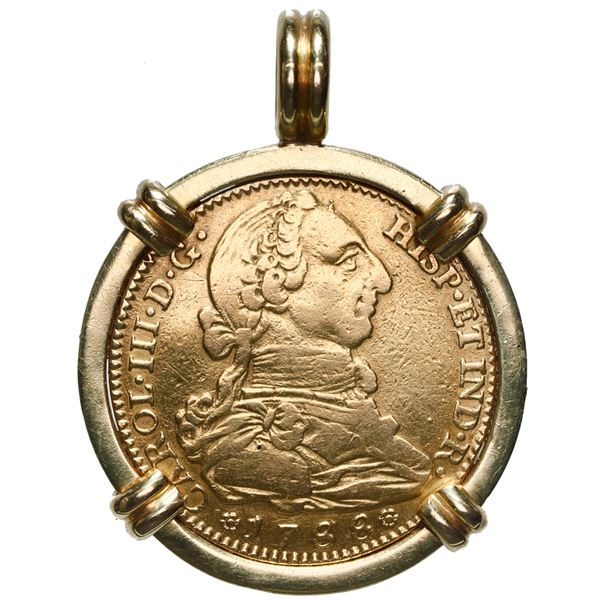 Madrid, Spain, gold bust 4 escudos, Charles III, 1788 M, mounted in 18K gold bezel with fixed bail.