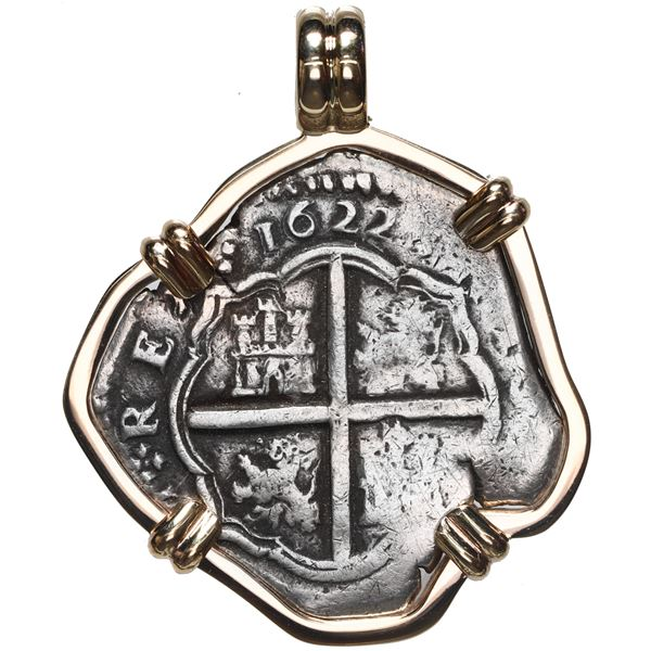 Toledo, Spain, cob 4 reales, 1622 P, mounted cross-side out in 14K gold bezel with fixed bail.